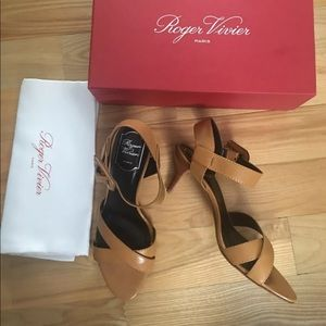 Roger Vivier Strappy Sandals Palace Camel 40 New